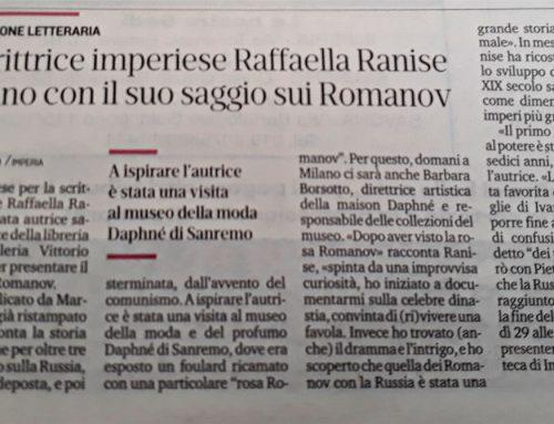 Stampa – La scrittrice imperiese Raffaella Ranise a Milano con il suo saggio sui Romanov 23/11/18